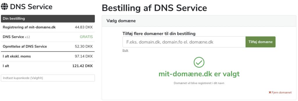 Betaling af DNS og domæne hos UnoEuro.